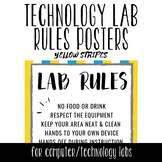 Tech Lab Rules Posters - Yellow Stripes