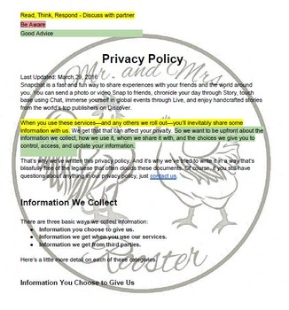"""Tech Lesson - Snapchat """"Privacy"""" Policy {Technology Lesson Plan}"""