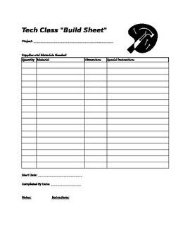 """Tech Theater Class """"Build Sheet"""""""