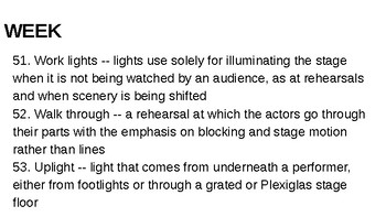 Tech Theatre Terms Bellwork