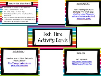 Tech Time Activity Task Cards