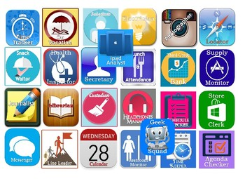 Tech themed classroom jobs. Includes 26 premade jobs.