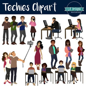 Big Kids and Teens using Technology Clipart