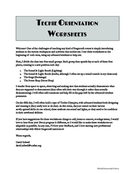 Technical Theatre: Techie Orientation Worksheets