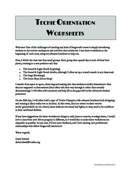 Techie Orientation Worksheets
