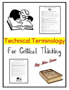 Technical Terminology for Critical Thinking (Vocabulary & Definitions)
