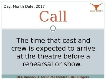 Technical Theatre Daily Vocabulary