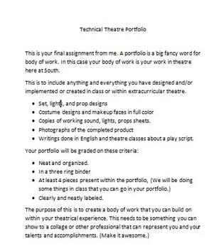 Technical Theatre Portfoilio Guidelines