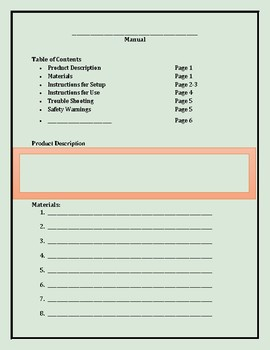 Technical Writing: Template for Writing a Manual