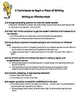 Techniques to Begin an Essay- Writing a Hook