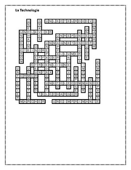 Technologie (Technology in French) Crossword
