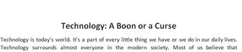 Technology: A Boon or a Curse