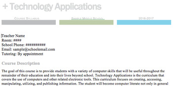 Technology Applications Syllabus