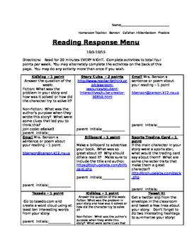Technology-Based Reading Response Menu