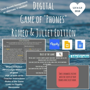 "Technology-Based Romeo & Juliet Game of ""Phones"" Activity"