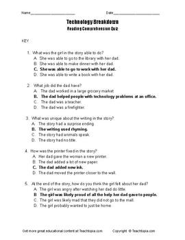 Technology Breakdown Benchmark Advance Reading Comprehension Quiz  first grade