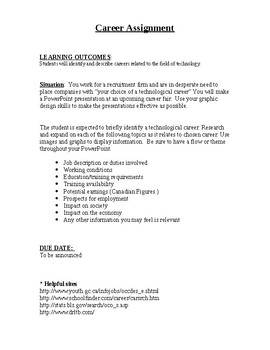 Technology Career Assignment