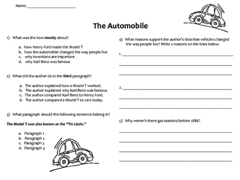 Technology: Informational Text, Comprehension Questions, Writing Prompts