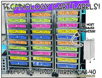 10 drawer cart labels- Technology Cart Labels