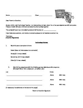 K-2 Technology Class Survey (Beginning of the Year)