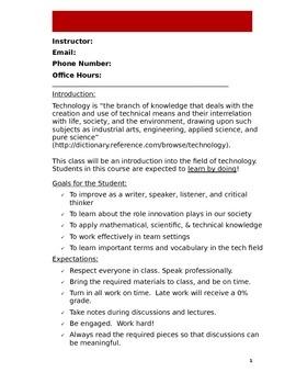 Technology Class Syllabus (Doc)