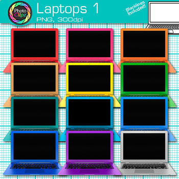 Technology Clip Art Bundle {Rainbow Laptop, Desktop Computer, iPad & Keyboard}