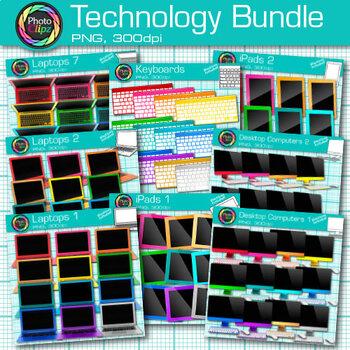Technology Clip Art Bundle {Rainbow Laptop, Desktop Comput