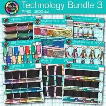Technology Clip Art Bundle {Rainbow Laptop, Desktop Computer, iPad & Keyboard} 3