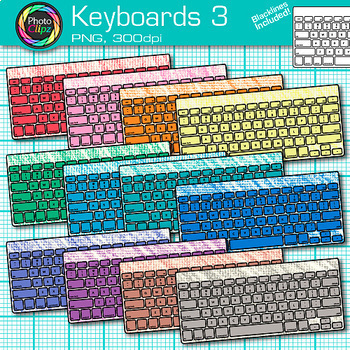 Technology Clip Art Bundle {Rainbow Laptop, Desktop Computer, iPad & Keyboard} 3