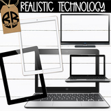 Computer iPad Clipart Realistic with Transparent Screens