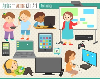 Technology Clip Art - color and outlines
