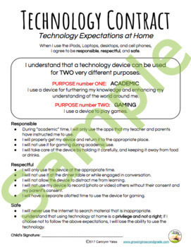 Technology Contract: School and Home
