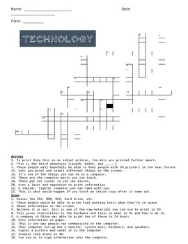 Technology Cross Word Puzzle