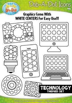 Technology Dab-A-Dot Markers Graphics Clipart {Zip-A-Dee-Doo-Dah Designs}
