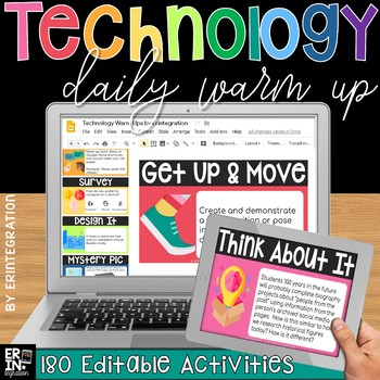 Technology Daily Warm Up Questions: Digital Year Long Warm Ups (EDITABLE)