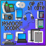 Technology Doodles digital clip art:  BW and full color PNG images