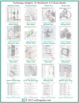 Technology-Gadgets 16 Worksheet- 4 Exam Bundle
