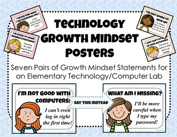 Technology Growth Mindset Posters for the Computer Lab