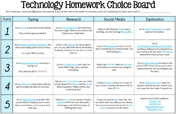 Technology Homework Choice Board