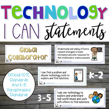 Technology I Can Statements and 2016 ISTE Standards Poster