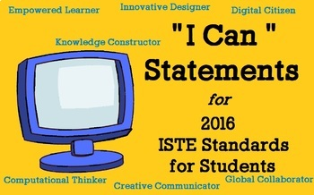 """Technology """"I Can"""" Statements K-5 Bundle w/ Suggested Resources! ISTE 2016"""