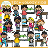 Kids with Technology Clip Art