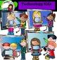 Technology Kids Clip Art set- Color and B&W