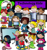Technology Kids Clip Art set- Color and B&W