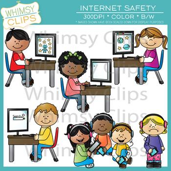 Technology Kids & Internet Safety Clip Art Bundle