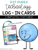 Technology Log-In Cards / Password Cards - Dot Dudes - EDITABLE -
