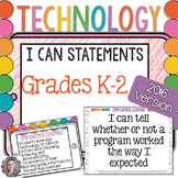 Technology I Can Statements for Grades K-2 {2016 Update}