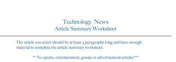 Technology  News Article Summary Worksheet