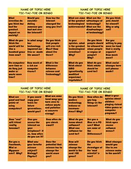 Technology Questions Tic-Tac-Toe or Bingo
