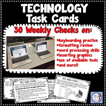 Technology Quick Check Task Cards for Test Prep (Yearlong
